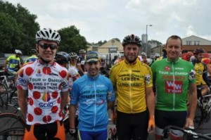 Jersey leaders starting Stage 4 (L-R Darnel Moore, Thomas Duffy, Gerard McNally Michael Finn)